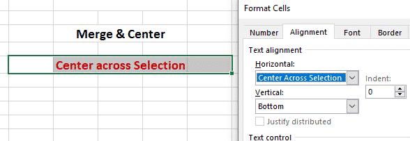 Using Center Across Selection